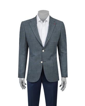 Ds Damat Slim Fit Yeşil Kareli Kumaş Ceket - 8682060384973 | D'S Damat