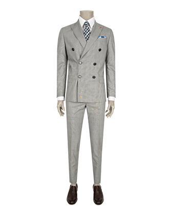 Twn Slim Fit Slim Fit Gri Ekoseli Takım Elbise - 8681778263648 | D'S Damat