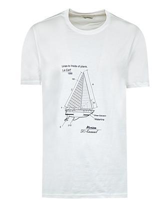 Ds Damat Regular Fit Ekru Baskılı T-shirt - 8681779307556 | D'S Damat