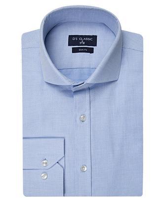 Ds Damat Slim Fit Mavi Armürlü Gömlek - 8681778118467 | D'S Damat