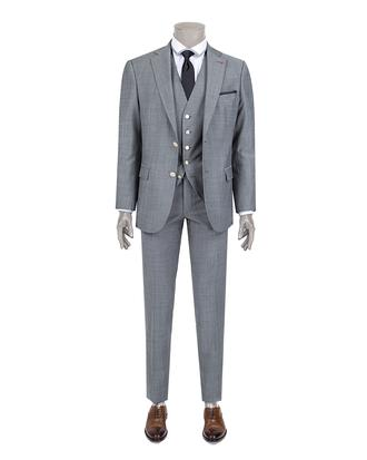 Ds Damat Slim Fit Slim Fit Gri Armürlü Yelekli Takım Elbise - 8681778105573 | D'S Damat