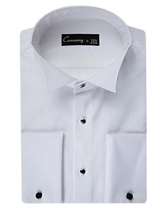 Ds Damat Slim Fit Beyaz Düz Smokin Gömlek - 8681779498872 | D'S Damat