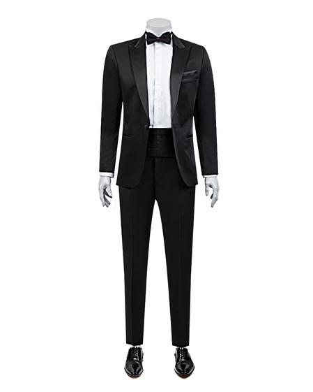 Ds Damat Slim Fit Slim Fit Siyah Jakar Desenli Smokin Takım Elbise - 8681778051764 | D'S Damat