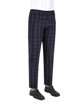 Twn Slim Fit Lacivert Ekoseli Kumaş Pantolon - 8681778809778 | D'S Damat