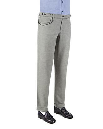 Twn Slim Fit Gri Armürlü Kumaş Pantolon - 8681778811788 | D'S Damat