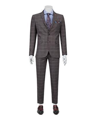 Twn Slim Fit Slim Fit Bordo Kareli Takım Elbise - 8681778715932 | D'S Damat