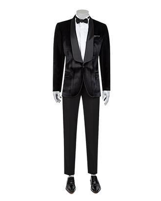 Twn Süper Slim Fit Slim Fit Siyah Kadife Smokin Takım Elbise - 8681778734506 | D'S Damat