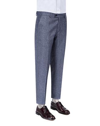 Ds Damat Slim Fit Lacivert Armürlü Kumaş Pantolon - 8681778827970   D'S Damat