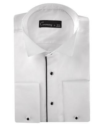 Ds Damat Slim Fit Beyaz Düz Smokin Gömlek - 8681778685235 | D'S Damat