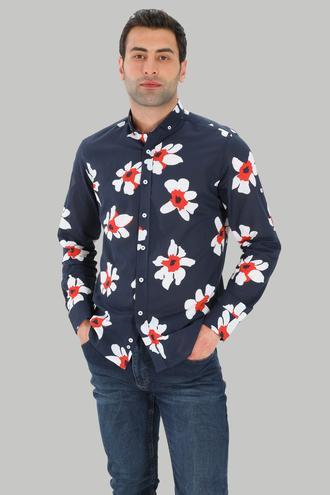 Twn Slim Fit Lacivert Baskılı Gömlek - 8681779025108 | D'S Damat