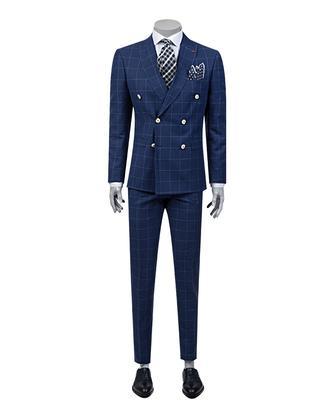 Twn Süper Slim Fit Slim Fit Lacivert Kareli Takım Elbise - 8681778939147 | D'S Damat