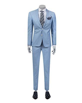 Twn Süper Slim Fit Slim Fit Mavi Armürlü Takım Elbise - 8681778939246 | D'S Damat
