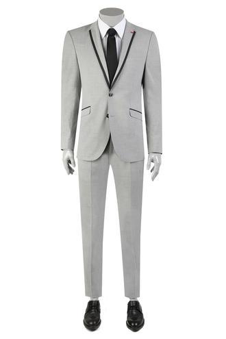 Twn Slim Fit Slim Fit Gri Düz Takım Elbise - 8681778901793 | D'S Damat