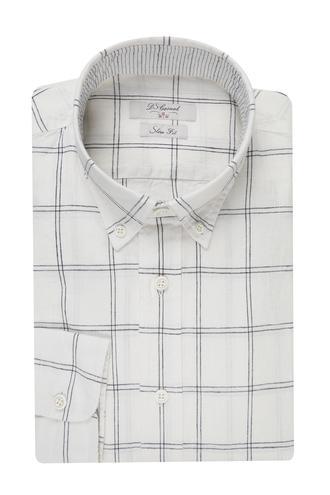 Ds Damat Regular Fit Beyaz Ekoseli Gömlek - 8681779107330 | D'S Damat