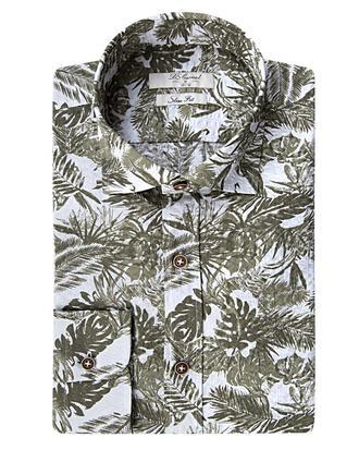 Ds Damat Slim Fit Haki Baskılı Gömlek - 8681779037699 | D'S Damat