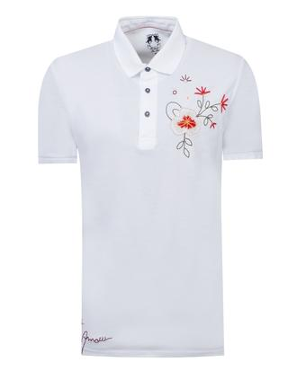 Ds Damat Slim Fit Beyaz Nakışlı T-shirt - 8682060495143 | D'S Damat