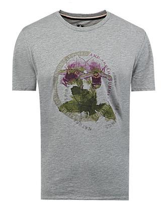 Ds Damat Regular Fit Gri Baskılı T-shirt - 8681778945605 | D'S Damat