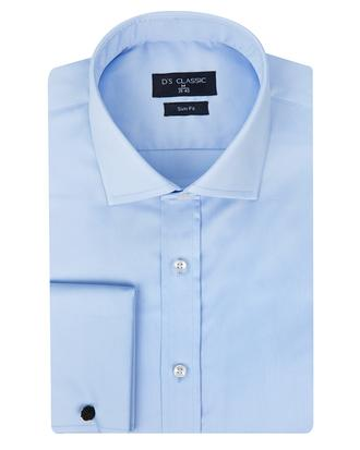 Ds Damat Slim Fit Mavi Düz Nano Care Gömlek - 8682445045499 | D'S Damat