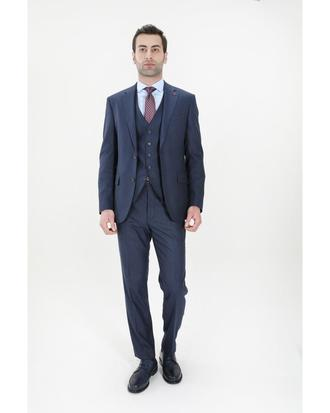 Ds Damat Slim Fit Lacivert Çizgili Yelekli Takım Elbise - 8682060393326 | D'S Damat
