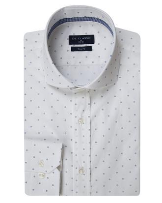 Ds Damat Slim Fit Beyaz Baskılı Gömlek - 8681779056348 | D'S Damat