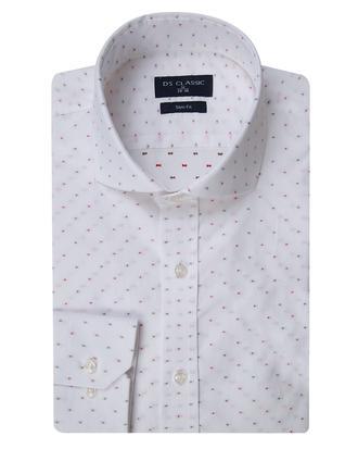 Ds Damat Slim Fit Beyaz Jakar Desenli Gömlek - 8681779057123 | D'S Damat