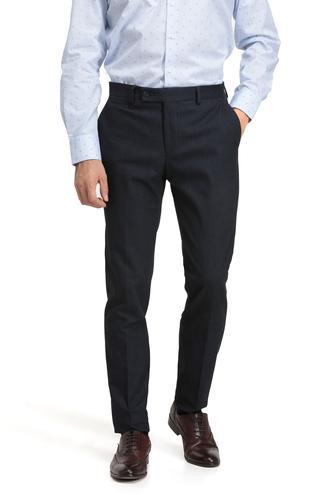 Twn Slim Fit Lacivert Armürlü Kumaş Pantolon - 8681779471899 | D'S Damat