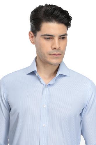 Ds Damat Slim Fit Mavi Çizgili Gömlek - 8681779627173 | D'S Damat