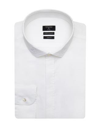 Twn Slim Fit Beyaz Düz Gömlek - 8681778217627   D'S Damat