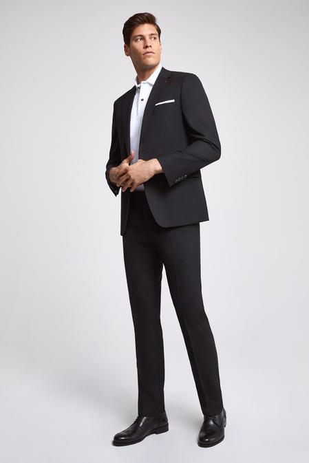 Ds Damat Slim Fit Siyah Armürlü Takım Elbise - 8682060782496 | D'S Damat
