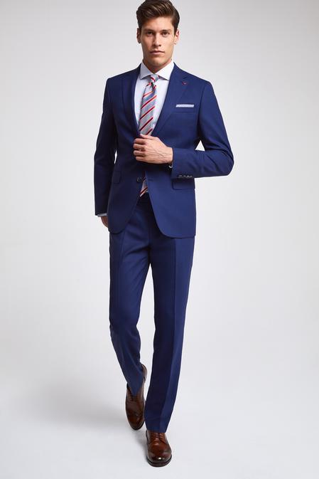 Ds Damat Slim Fit Saks Mavi Armürlü Takım Elbise - 8682060782854 | D'S Damat