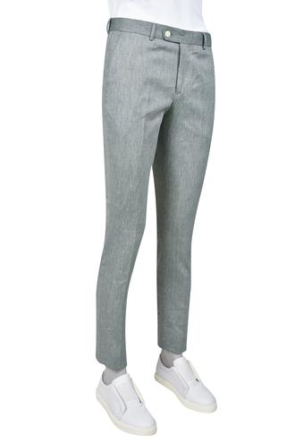 Twn Yeşil Armürlü Keten Kumaş Pantolon - 8681779797289 | D'S Damat