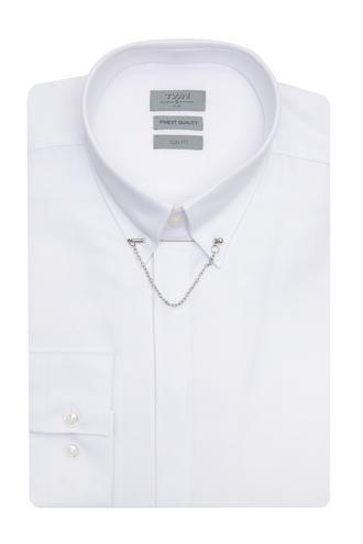 Twn Slim Fit Beyaz Armürlü Gomlek - 8681779918318 | D'S Damat
