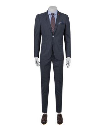 Twn Slim Fit Lacivert Armürlü Takım Elbise - 8682060358073 | D'S Damat