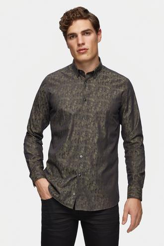 Tween Slim Fit Yeşil Desenli Gömlek - 8681649717362 | Damat Tween