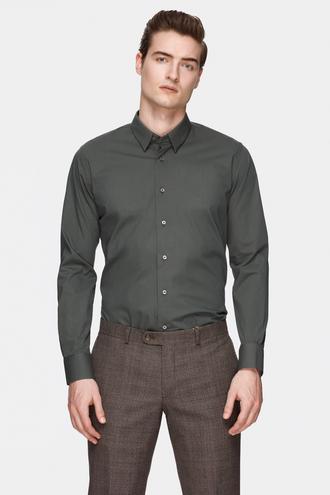 Damat Slim Fit Yeşil Düz Gömlek - 8681649810841 | Damat Tween