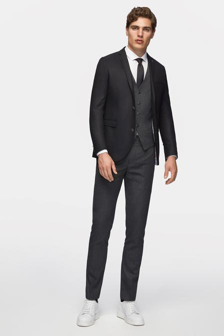 Tween Slim Fit Slim Fit Siyah Desenli Yelekli Takım Elbise - 8681649656098   Damat Tween