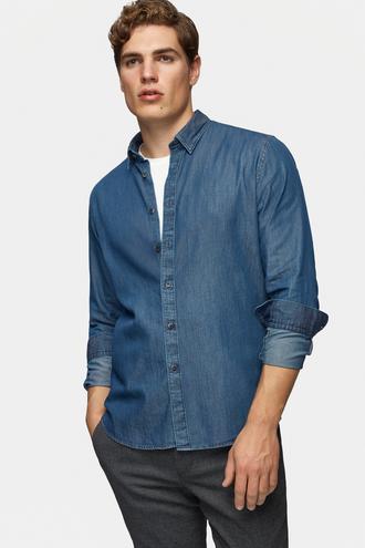 Tween Slim Fit Mavi Düz Gomlek - 8681649828198 | D'S Damat