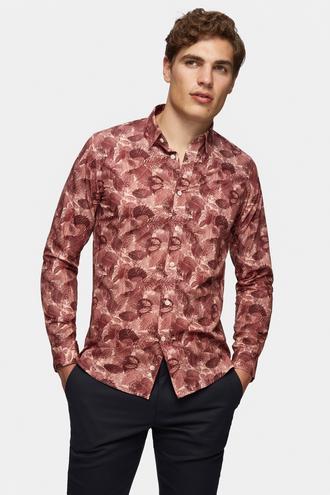 Tween Slim Fit Bordo Baskılı Gömlek - 8681649890591 | Damat Tween