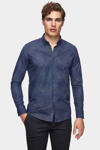 Tween Slim Fit İndigo Baskılı Gömlek - 8681649891949 | Damat Tween