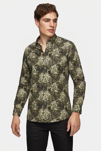 Tween Slim Fit Yeşil Baskılı Gömlek - 8681649926771   Damat Tween