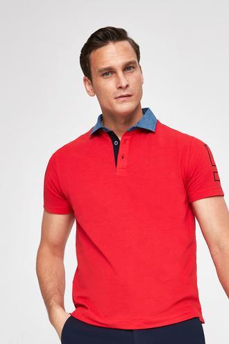 Ds Damat Slim Fit Kırmızı Baskılı T-shirt - 8681779868217 | D'S Damat