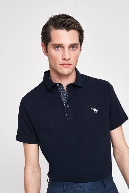 Ds Damat Slim Fit Lacivert Pike Dokulu T-shirt - 8682060046857 | D'S Damat