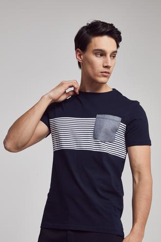 Twn Slim Fit Lacivert Çizgi Desenli T-shirt - 8682060045225 | D'S Damat