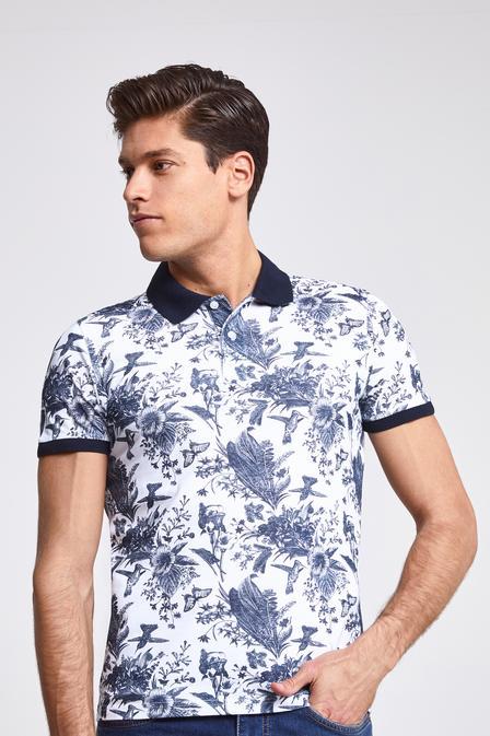Ds Damat Slim Fit Beyaz Baskılı T-shirt - 8682060062192 | D'S Damat
