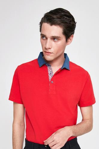 Twn Slim Fit Kırmızı Pike Dokulu T-shirt - 8682060087805 | D'S Damat