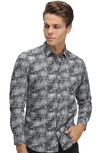 Twn Slim Fit Siyah Baskılı Gömlek - 8681779613947   D'S Damat