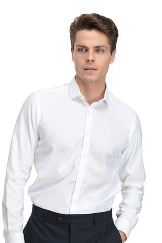Twn Slim Fit Beyaz Armürlü Gömlek - 8681779638940   D'S Damat