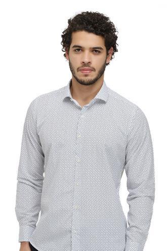 Twn Slim Fit Beyaz Baskılı Gömlek - 8682060840387 | D'S Damat