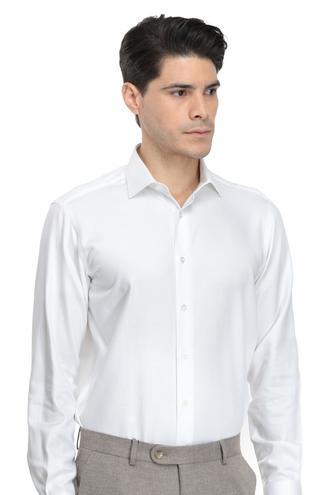Ds Damat Regular Fit Beyaz Armürlü Gömlek - 8681779624493 | D'S Damat
