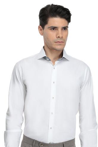 Ds Damat Slim Fit Beyaz Düz Gömlek - 8681779481058 | D'S Damat